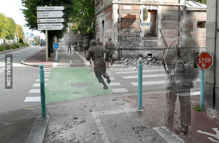 Ghosts of History - past and present pictures combined.