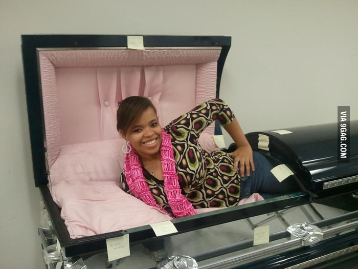 Why would someone pose in a coffin?