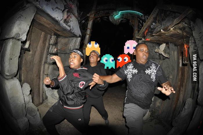 Pac-Man Ghosts chasing people
