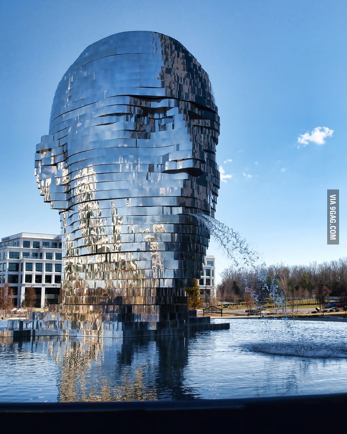 Metalmorphosis - 30-feet rotating head fountain in Charlotte