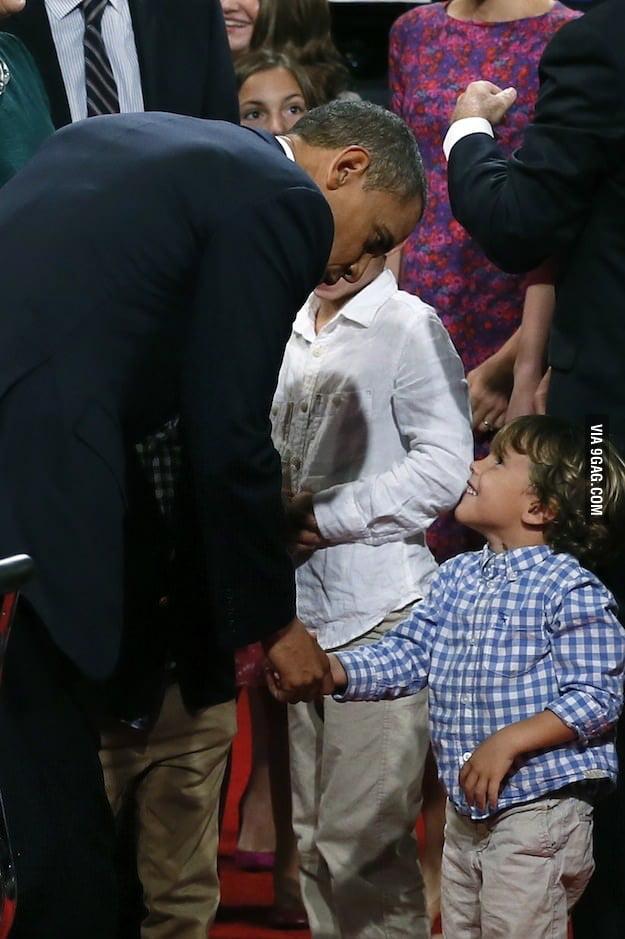 President Obama meets Mitt Romney's grandson.