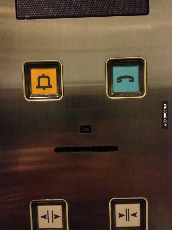 The elevator winked at me