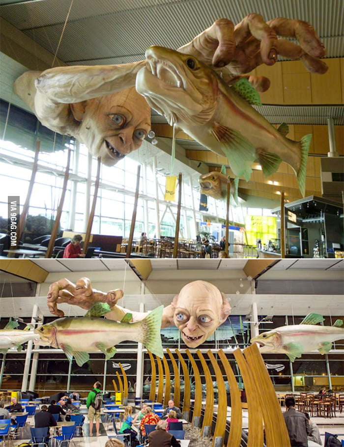 Gollum statue in a New Zealand Airport.