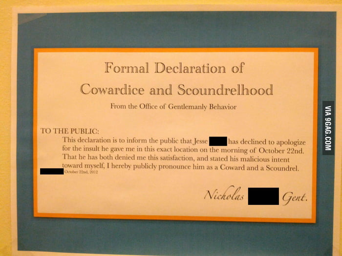 Formal Declaration of Cowardice and Scoundrelhood