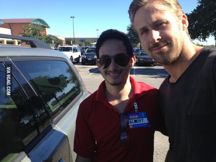My friend met Ryan Gosling. He's more handsome in person!