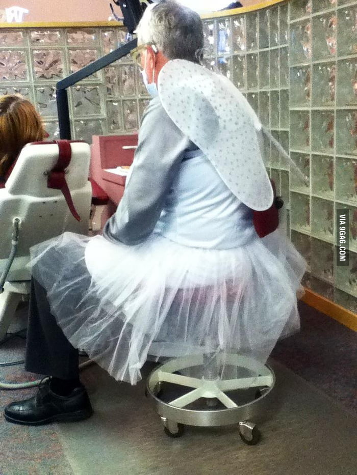 My dentist dressed up as the tooth fairy!