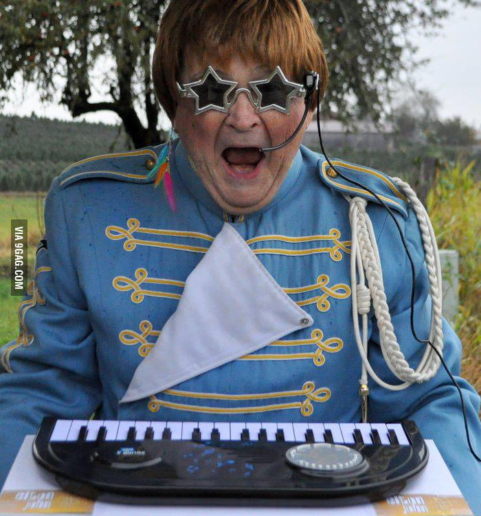 Grandpa dressed up as Elton John