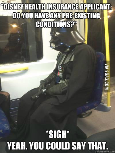 Sad Vader went over his new employee packet.