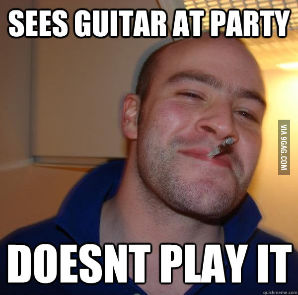 Good Guy Greg sees a guitar at party.