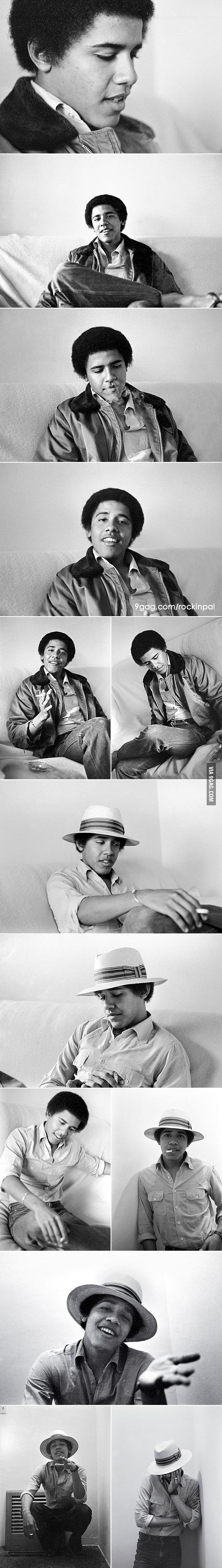 President Obama in 1980s, chilling.