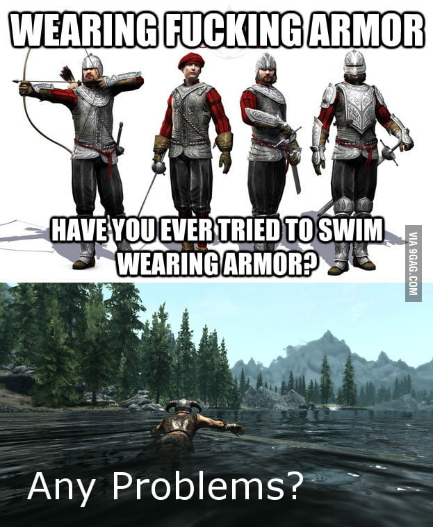 Swim wearing armor