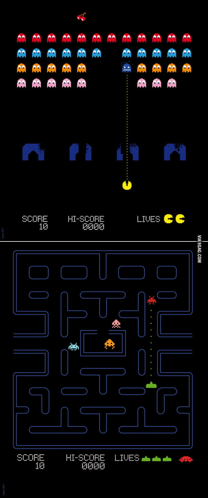 Pacman x Space Invaders, which game would be more fun?