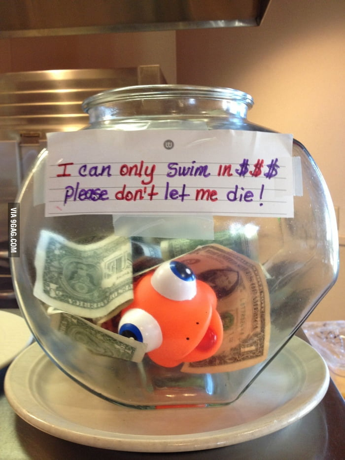 Tip jar at a local restaurant.
