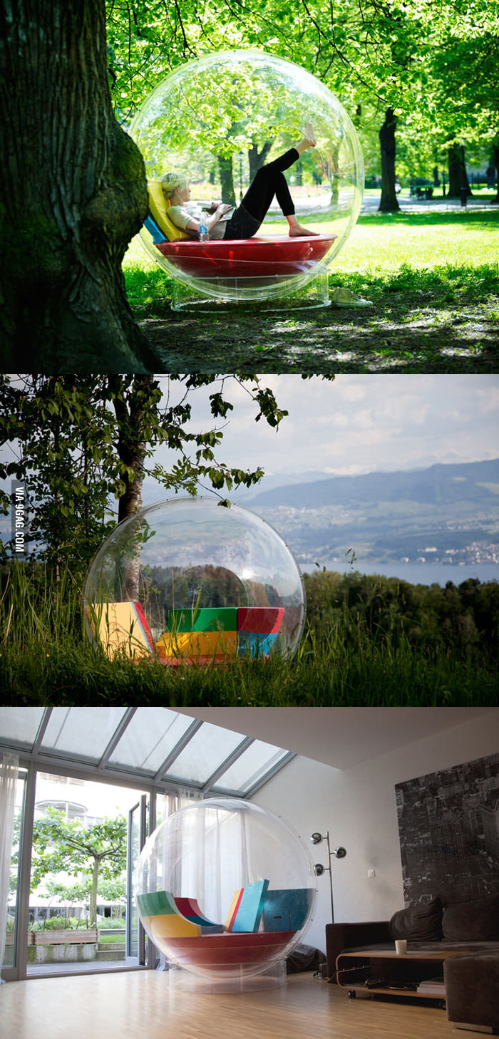 Relaxing in your own bubble. It's called Cocoon 1.