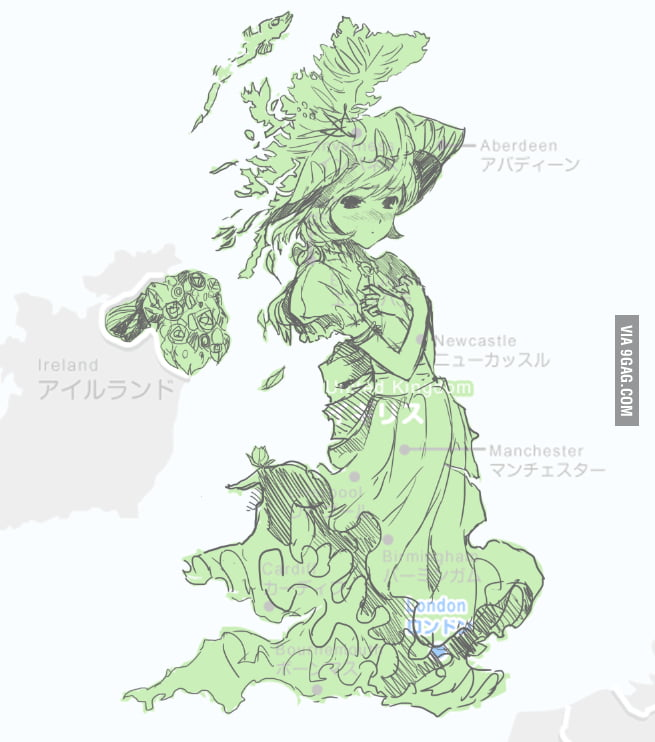 United Kingdom is a shy anime girl.