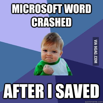 Success Kid using Microsoft Word