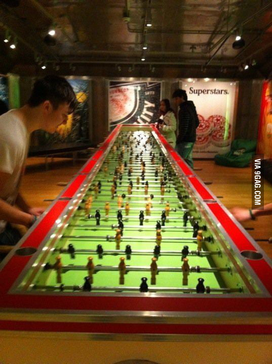 Probably the longest fooseball table