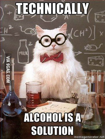 Chemistry Cat on alcohol.