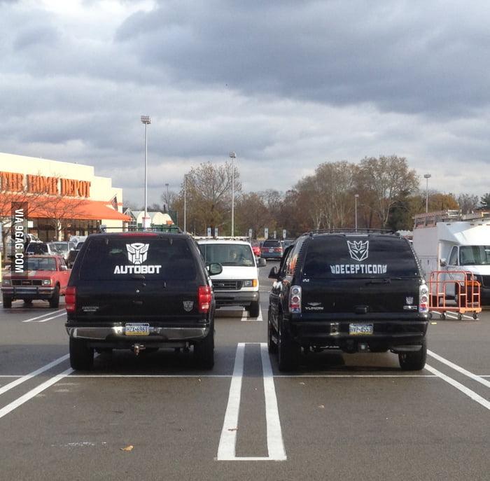 Transformers in car park.