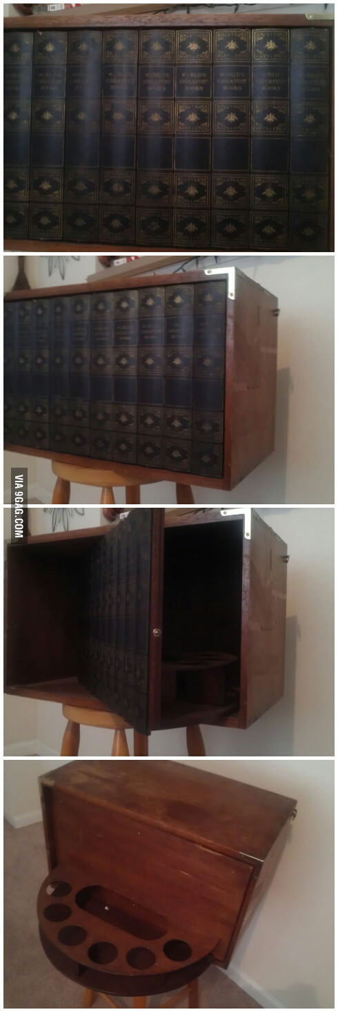 My grandpa got this awesome bookcase/hidden mini bar!