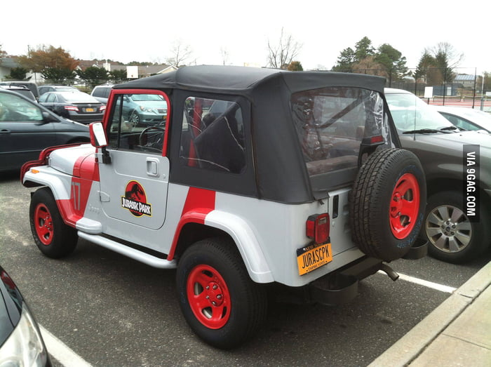 The car owner must be a big fan of Jurassic Park.