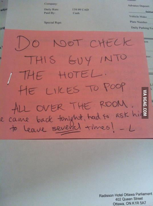 I work at a hotel. My colleague left me this note.