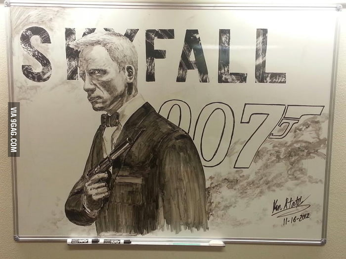 Saw this awesome James Bond on the whiteboard at my school.