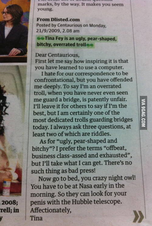 How Tina Fey responded to mean comment. She is awesome!