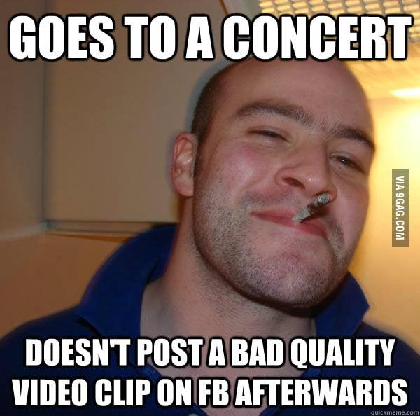 Good Guy Greg goes to concert.