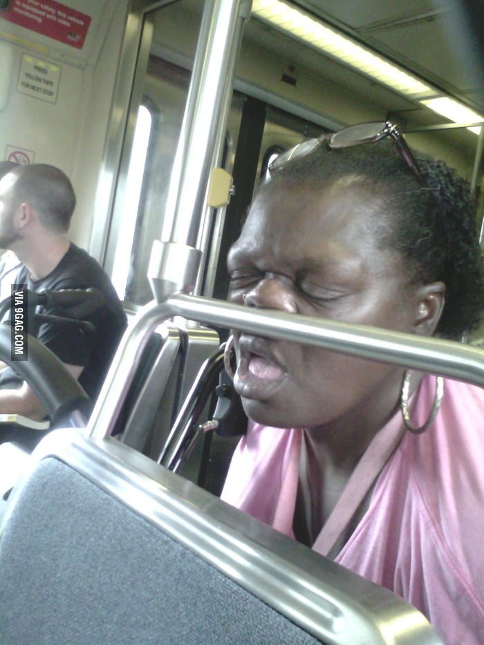 She was sleeping tight on public transportation.