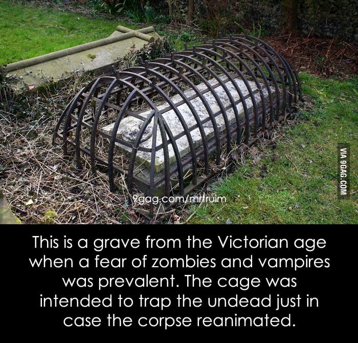 Grave with a cage to prevent the undead.