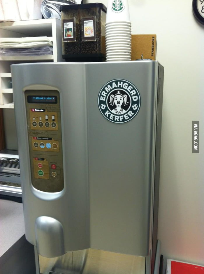 The sign for the Starbucks coffee machine in my dad's office