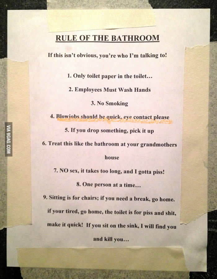 Rule of the bathroom