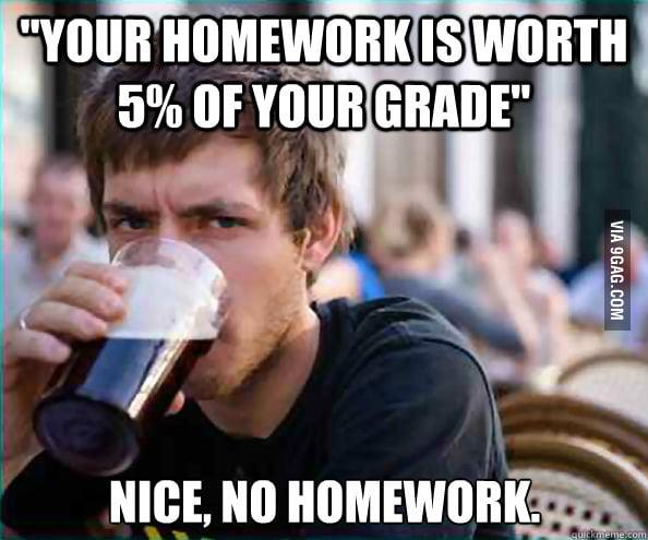 Lazy College Senior on Homework