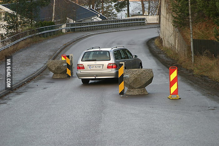 My town puts huge rocks on the road to slow down the cars.