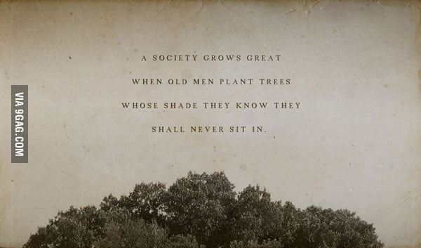 A society grows great when...