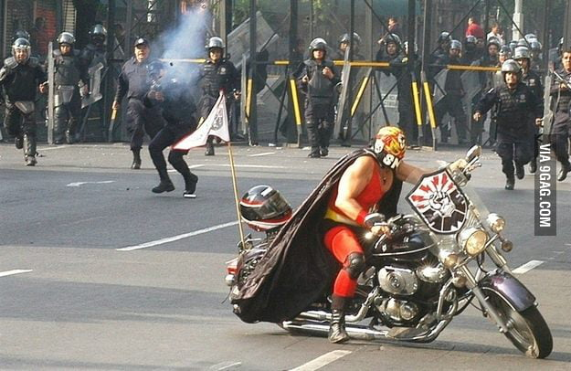 Just a Luchador against the police