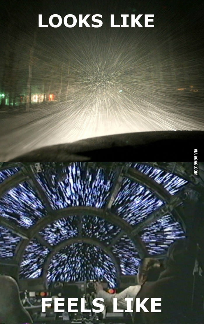 Every time driving when it's snowing.