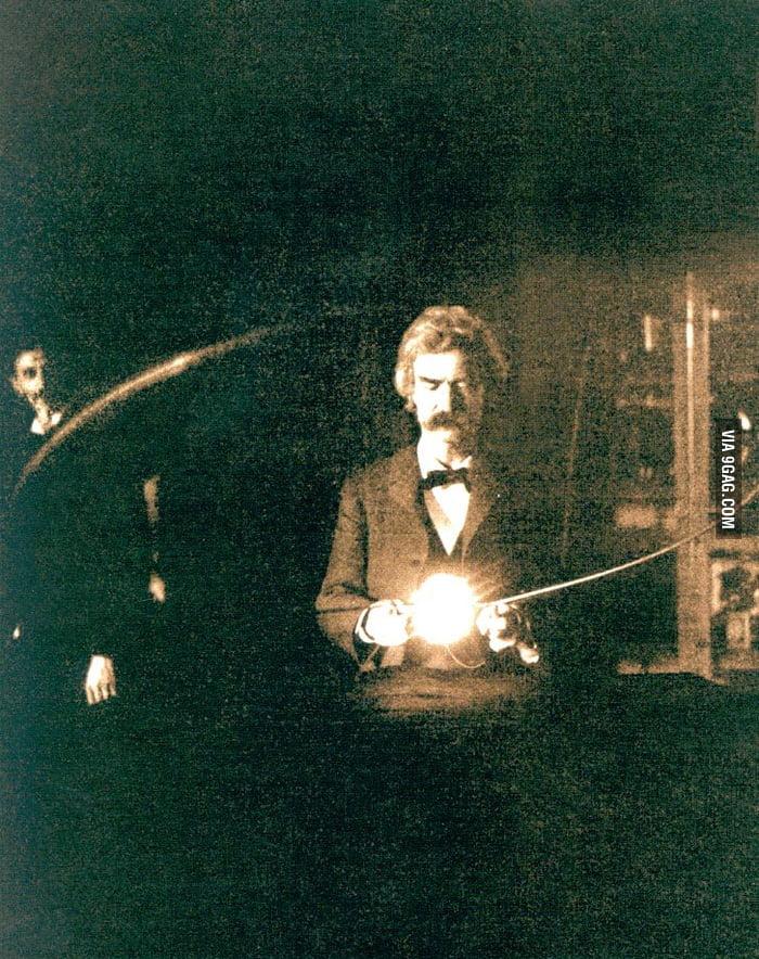 Mark Twain inside the laboratory of Nikola Tesla, 1894.