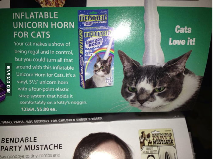 Inflatable unicorn horn for cats. Cats love it!