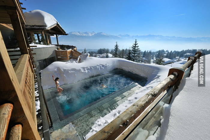 A ski resort in the Alps.