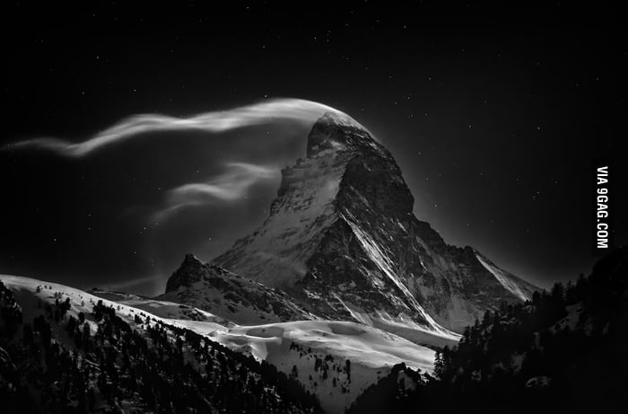 The Matterhorn at full moon.