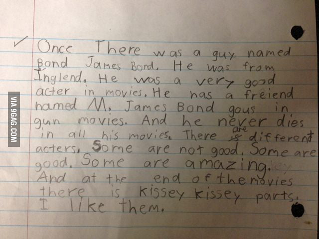 A 7 year old boy wrote about James Bond