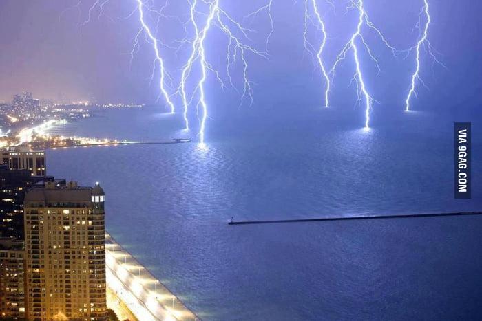 Lightning strikes at Lake Shore Drive