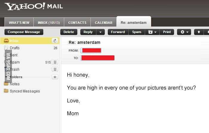 I'm visiting Amsterdam, and my mom sent me an email.
