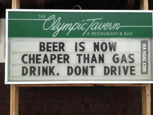 Driving is too mainstream, let's have a beer.