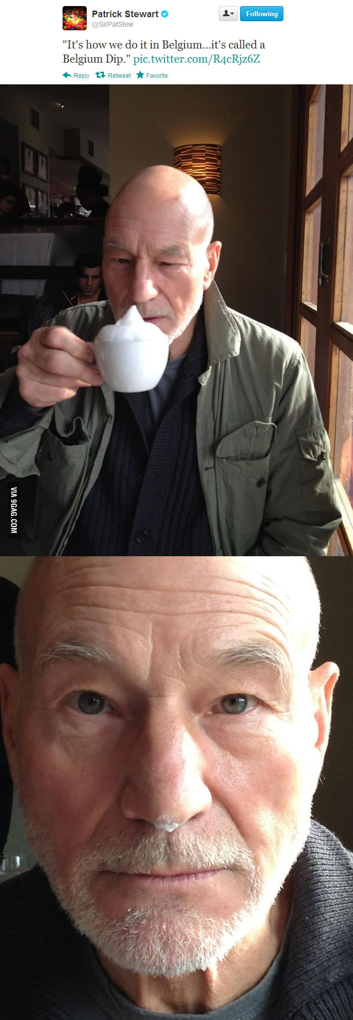 Patrick Stewart doing the Belgium Dip.