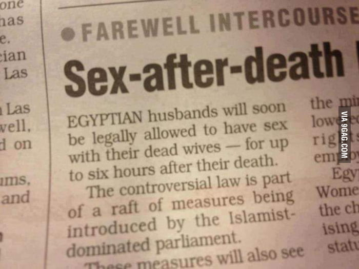 Egyptian court allows sex after death.