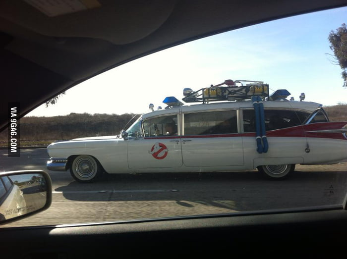 Saw the ghostbusters' car on the road.