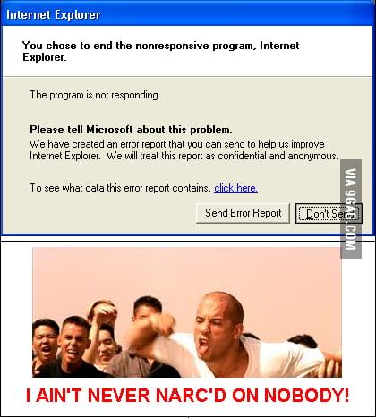 I never send error reports.
